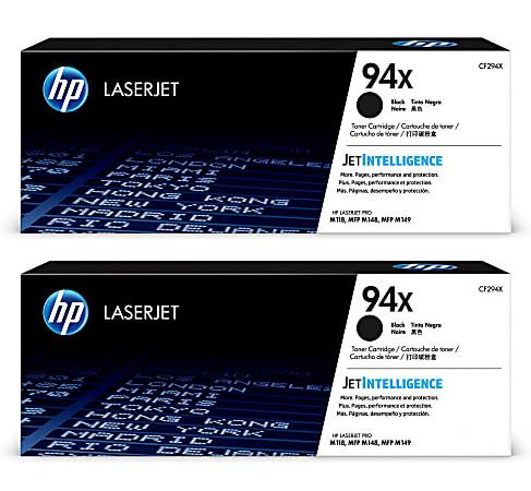 HP 94X CF294X2PK-OD High-Yield Black Original Toner Cartridges, Pack Of 2 Cartridges