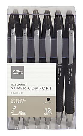Office Depot® Brand Super Comfort Grip Retractable Ballpoint Pens, Medium Point, 1.0 mm, Black Barrel, Black Ink, Pack Of 12