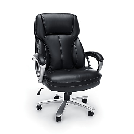 OFM Essentials Big And Tall Ergonomic Bonded Leather High-Back Chair, Black/Silver