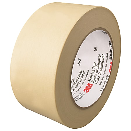 """3M™ 203 Masking Tape, 3"""" Core, 2"""" x 180', Natural, Pack Of 24"""
