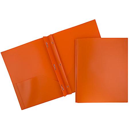 "JAM Paper® Plastic 2-Pocket POP Folders with Metal Prongs Fastener Clasps, 9 1/2"" x 11 1/2"", Orange, Pack Of 6"