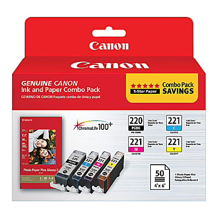 Canon PGI-220/CLI-221 ChromaLife 100+ Black/Color Ink Cartridges And PP-201 Photo Paper, Combo Pack Of 4 Cartridges And 50 Sheets (2945B011)