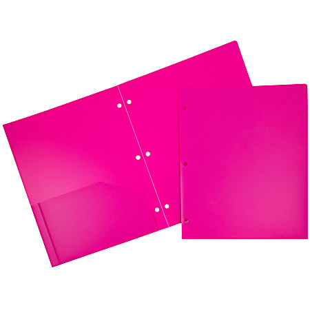 """JAM Paper® 3-Hole-Punched 2-Pocket Plastic Presentation Folders, 9"""" x 12"""", Fuchsia Pink, Pack Of 6"""