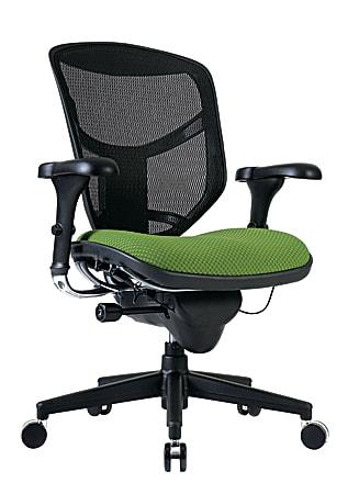 WorkPro® Quantum 9000 Series Ergonomic Mesh/Premium Fabric Mid-Back Chair, Black/Lime