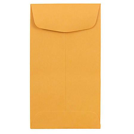 JAM Paper® Coin Envelopes, #6, Gummed Seal, Brown Kraft, Pack Of 25