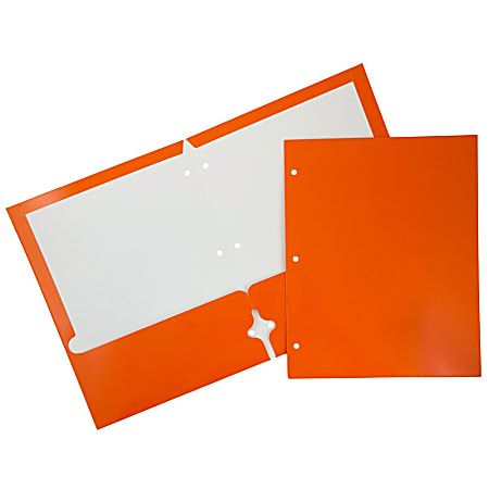 JAM Paper® Glossy 3-Hole-Punched 2-Pocket Presentation Folders, Orange, Pack of 6