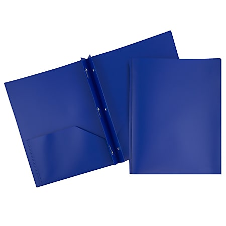 "JAM Paper® Plastic 2-Pocket POP Folders with Metal Prongs Fastener Clasps, 9 1/2"" x 11 1/2"", Deep Blue, Pack Of 6"