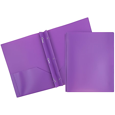 "JAM Paper® Plastic 2-Pocket POP Folders with Metal Prongs Fastener Clasps, 9 1/2"" x 11 1/2"", Purple, Pack Of 6"