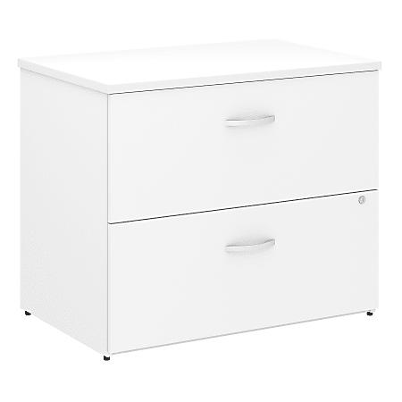 "Bush Business Furniture Studio C 36""W Lateral 2-Drawer File Cabinet, White, Standard Delivery"