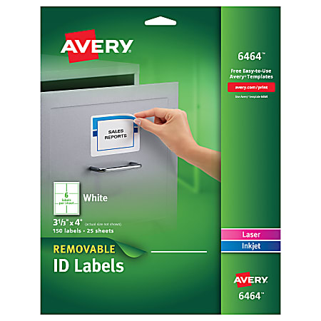 """Avery® Inkjet/Laser Labels, 6464, ID, 3 1/3"""" x 4"""", Removable, White, Pack Of 150"""