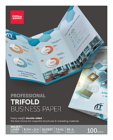"""Office Depot® Brand Professional Trifold Business Paper, Glossy, Letter Size (8 1/2"""" x 11""""), 50 Lb, Pack Of 100 Sheets"""