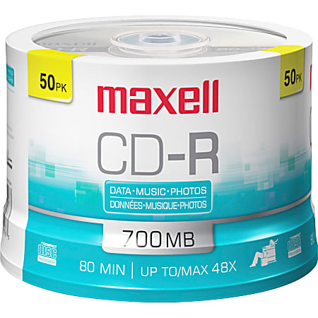 Maxell® CD-R Media Spindle, 700MB/80 Minutes, Pack Of 50
