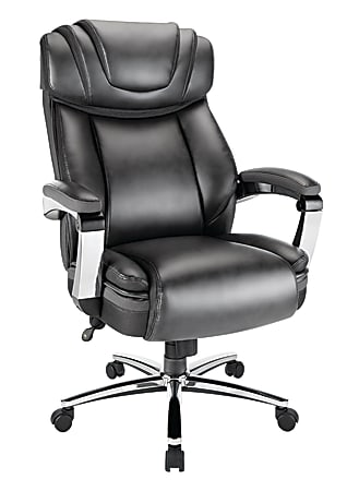 Realspace® Axton Big And Tall Bonded Leather High-Back Chair, Dark Gray/Chrome