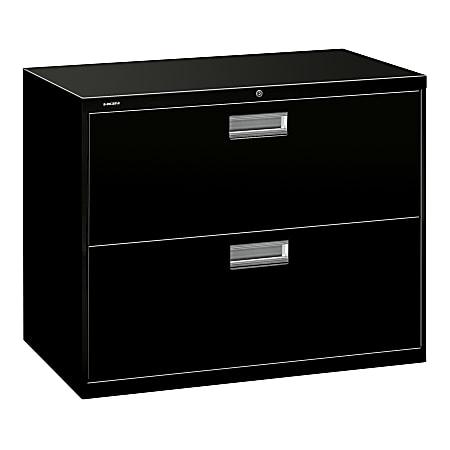 "HON® Brigade® 600 36""W Lateral 2-Drawer File Cabinet, Metal, Black"