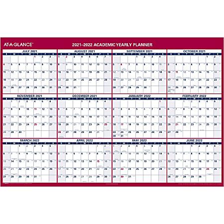 "AT-A-GLANCE® Horizontal Reversible Erasable Wall Calendar, 32"" x 48"", Blue/White, PM326S2822"