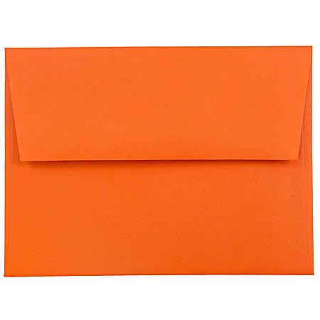 JAM Paper® Booklet Invitation Envelopes, A2, Gummed Seal, 30% Recycled, Orange, Pack Of 25