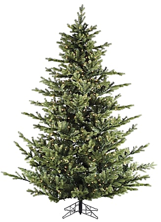 Fraser Hill Farm 7 1/2' Foxtail Pine Artificial Christmas Tree With Multi-Color LED String Lighting And Stand, Green/Black