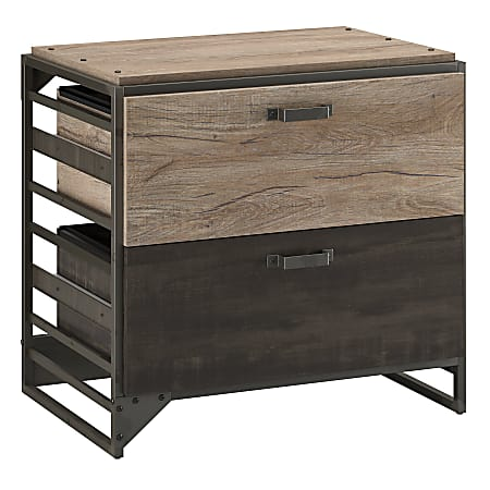 """Bush Business Furniture Refinery 31-3/4""""W Lateral 2-Drawer File Cabinet, Rustic Gray/Charred Wood, Standard Delivery"""