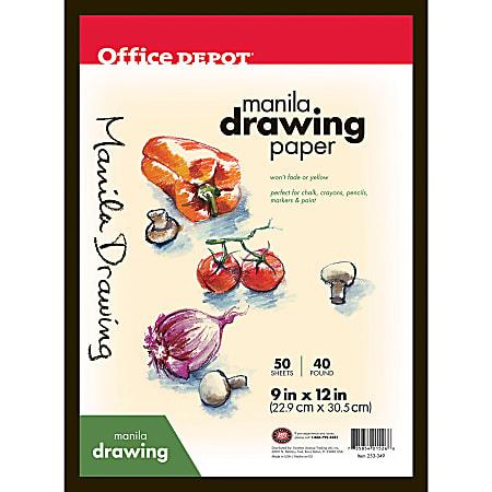 "Office Depot® Brand Manila Drawing Paper, 9"" x 12"", 40 Lb, 50 Sheets"