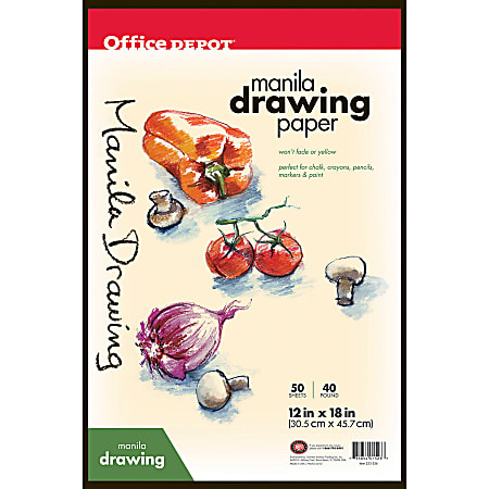 "Office Depot® Brand Manila Drawing Paper, 12"" x 18"", 40 Lb, 50 Sheets"