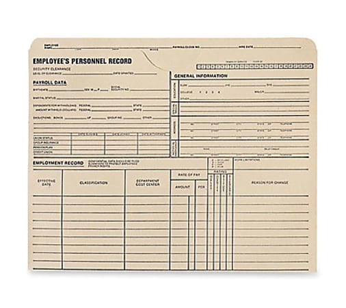 """Quality Park Top-Tab Employee's Personnel Record Files, 9 1/2"""" x 11 3/4"""", Manila, Box Of 100 Files"""
