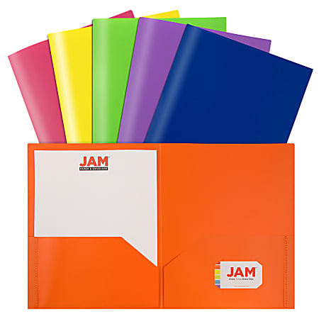 "JAM Paper® POP Plastic 2-Pocket School Folders, 9-1/2"" x 11-1/2"", Assorted Primary, Pack Of 6 Folders"