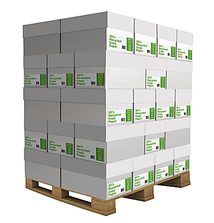 """Domtar Copy Paper Pallet, Letter Size (8 1/2"""" x 11""""), 20 Lb, 30% Recycled, Ream Of 500 Sheets, Case Of 10 Reams, Pallet Of 40 Cases"""