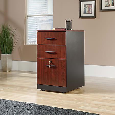 "Sauder® Via 19-1/2""D Vertical 3-Drawer Pedestal File Cabinet, Classic Cherry/Soft Black"