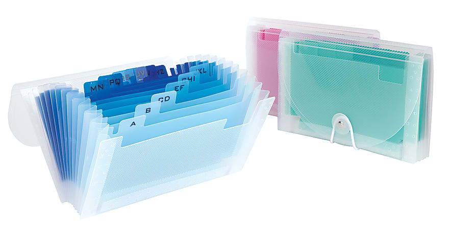 """Office Depot® Brand Polypropylene Accordion Expanding File, 13-Pocket, 6"""" Expansion, Coupon Size, Assorted Colors"""
