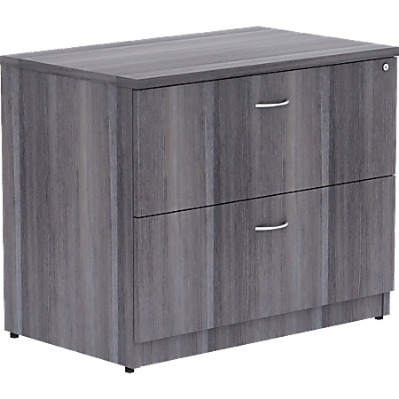 "Lorell® Essentials 30""W Lateral 2-Drawer File Cabinet, Weathered Charcoal"