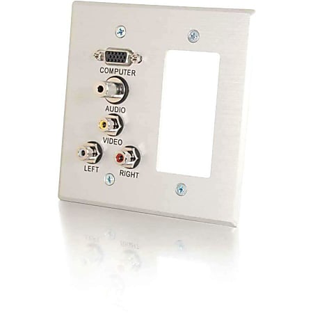 C2G VGA, 3.5mm Audio, Composite Video and RCA Stereo Audio Pass Through Double Gang Wall Plate with One Decorative Style Cutout - Brushed Aluminum - 2-gang - Brushed Aluminum - 1 x Mini-phone Port(s) - 2 x RCA Port(s) - 1 x VGA Port(s)