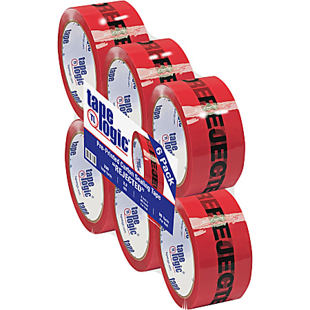 """Tape Logic® Rejected Preprinted Carton Sealing Tape, 3"""" Core, 2"""" x 55 Yd., Black/Red, Case Of 6"""