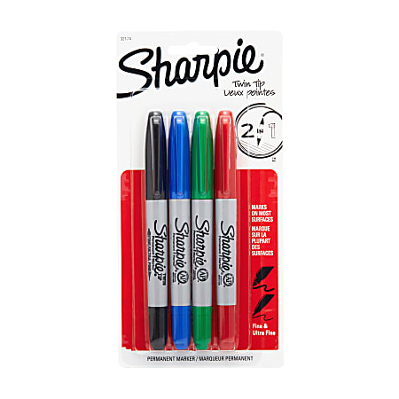 Sharpie® Twin-Tip Permanent Markers, Assorted Basic Colors, Pack Of 4
