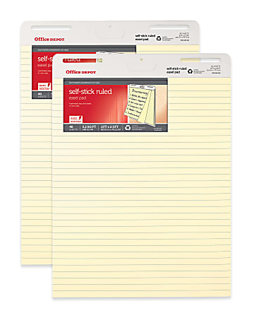"""Office Depot® Brand Bleed Resistant Self-Stick Easel Pads, 25"""" x 30"""", 40 Sheets, 30% Recycled, Yellow, Pack Of 2"""