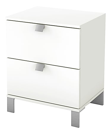 """South Shore Spark 2-Drawer Nightstand, 23""""H x 19-1/2""""W x 17""""D, Pure White"""