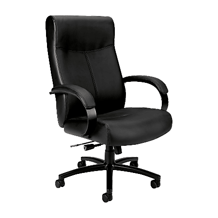 HON® Validate™ Big And Tall Ergonomic Bonded Leather High-Back Chair, Black