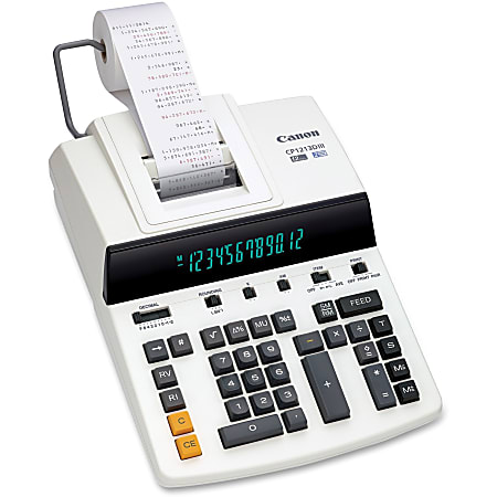 """Canon CP1213DIII Desktop Printing Calculator - Dual Color Print - Dot Matrix - 4.8 lps - Ergonomic Design, Independent Memory, Item Count - 0.67"""" - 12 Digits - Fluorescent - AC Supply Powered - 6"""" x 11"""" x 17"""" - White - 1 Each"""