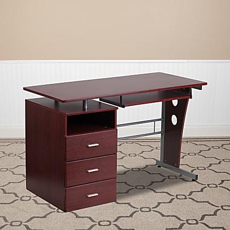 Flash Furniture Computer Desk with 3-Drawer Pedestal, Mahogany