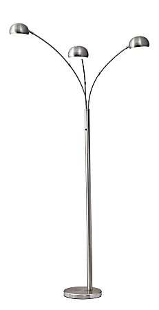 "Adesso® Domino Arc Floor Lamp, 84""H, Brushed Steel"