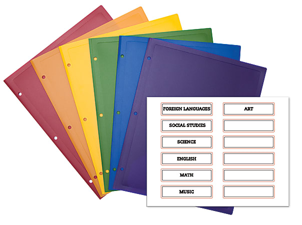 Office Depot® Brand 2-Pocket Poly Portfolios With Subject Labels, Letter Size, Assorted Colors, Pack Of 6