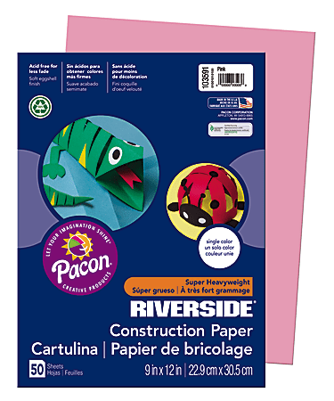 "Riverside® Groundwood Construction Paper, 100% Recycled, 9"" x 12"", Pink, Pack Of 50"