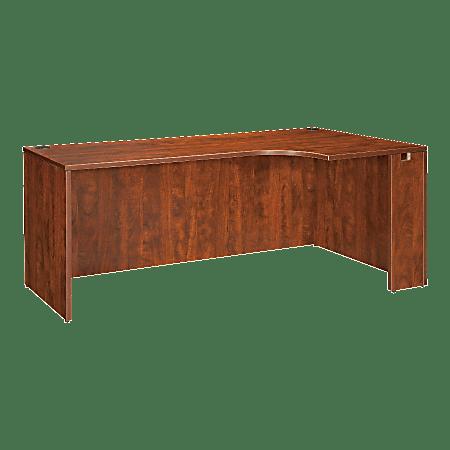 """Lorell® Essentials Series Corner Credenza Shell Desk, Right, 66""""W, Cherry"""