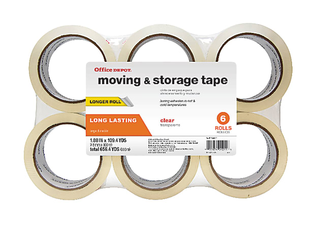 "Office Depot® Brand Moving & Storage Tape, 1-9/10"" x 109.4 Yd., Clear, Pack Of 6 Rolls"