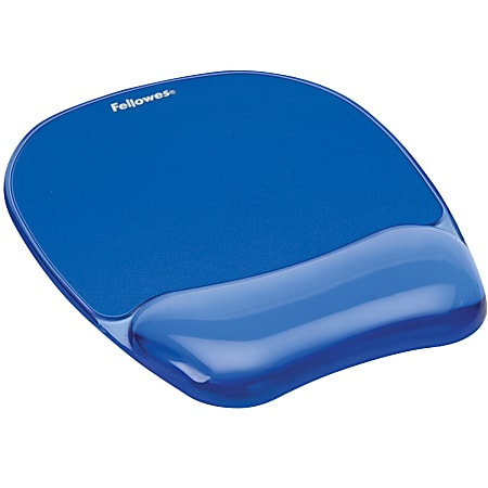 """Fellowes® Gel Crystals Mouse Pad With Wrist Rest, 1""""H x 7.94""""W x 9.25""""D, Blue"""