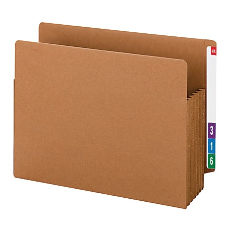 """Smead® TUFF® End-Tab File Pockets, 5 1/4"""" Expansion, Letter Size, 30% Recycled, Redrope, Box Of 10"""