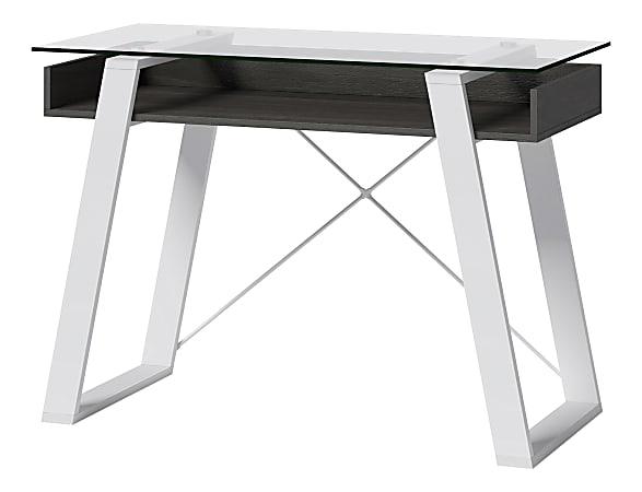 "Elle Décor® Lara 42""W Writing Desk, Cool Gray/Snow White"