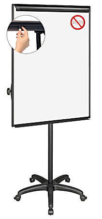 """MasterVision® Easy Clean™ Mobile Non-Magnetic Dry-Erase Whiteboard Easel, 32"""" x 41"""", Aluminum Frame With Silver Finish"""