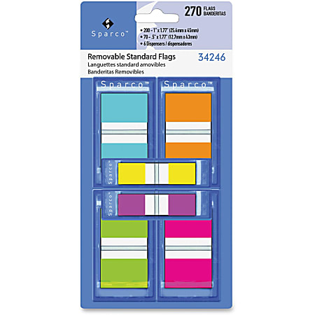 """Sparco Assorted Pop-Up Flags Combo Pack - 0.50"""", 1"""" - Assorted - Self-adhesive, Repositionable, Removable, Writable - 270 / Pack"""