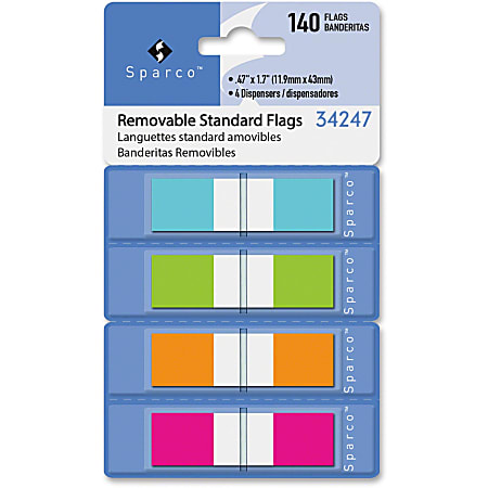"""Sparco Pop-Up Dispenser Page Flags - 140 x Assorted - 0.50"""" - Assorted - Cellophane - Self-adhesive, Repositionable, Removable, Writable - 140 / Pack"""