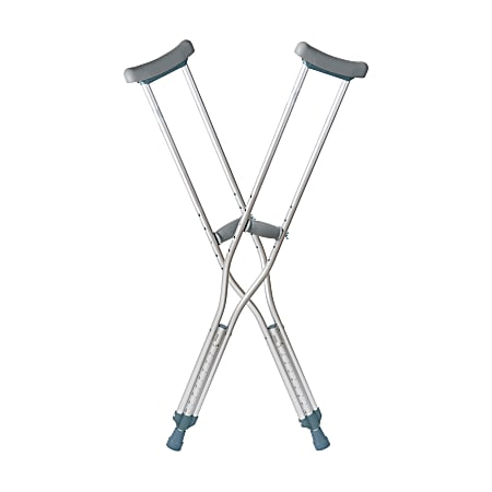"""DMI® Aluminum Push-Button Crutches, Adult, Fit Users 5' 2"""" – 5' 10"""", Silver, Pack Of 2"""